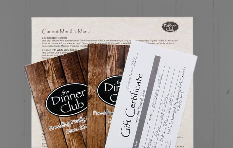 Gift Certificates at The Dinner Club